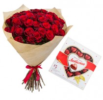 35 red  roses and chocolates