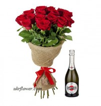 15 red roses and Martini Asti