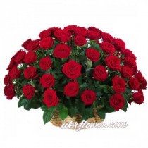 "55 roses ""Grand Prix"" in a basket"