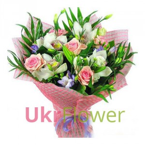 "A bouquet of roses and orchids ""Eve "" ― Ukrflower - flower delivery"