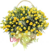 Basket of 151 yellow roses