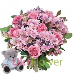 Romantina  + Teddy Bear  ― Ukrflower - flower delivery