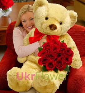Giant Teddy bear and roses ― Ukrflower - flower delivery