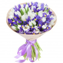 White tulips and irises bouquet