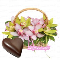 Basket with orchids + a gift!