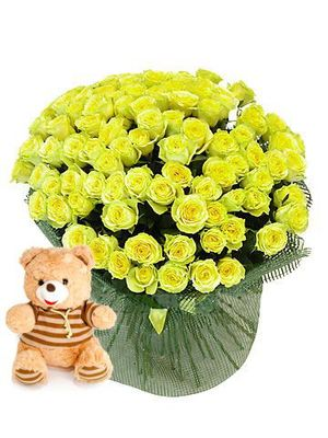 "75 Roses ""Gold ""+ Bear as a gift! ― Ukrflower - flower delivery"