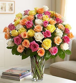 75 mixed colored roses ― Ukrflower - flower delivery