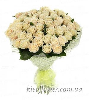 Bouquet of 55 cream roses ― Ukrflower - flower delivery
