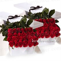 50 roses in a gift box