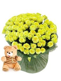 "75 Roses ""Gold ""+ Bear as a gift!"
