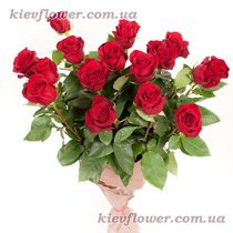 A bouquet of 15 red roses